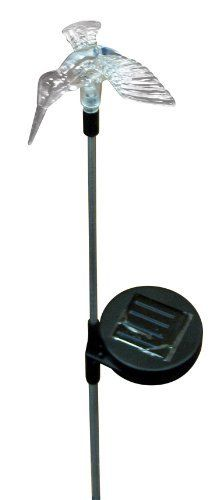 HoldAll 8001B 3 Color LED Hummingbird Garden Solar Light by AmerTac. $11.50. Accent your outdoor decor with these beautiful outdoor solar powered garden lights. Weather-resistant, it automatically illuminates for up to 8 hours at dusk. Rechargeable battery is included - just place the light in sunlight to recharge. Also features a convenient on/off switch.. Save 11%!