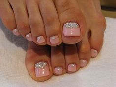nude pink pedicure with rhinestones