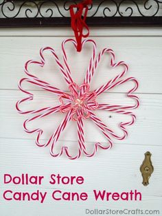 DIY Cheap and Easy Candy Cane Wreath from Dollar Store Crafts here. This wreath is made with cheap candy cane ornaments so I'm going to pick some up on sale after Christmas and make this next year. All Things Christmas, Holiday Fun, Christmas Holidays, Christmas Wreaths, Merry Christmas, Holiday Ideas, Christmas Projects, Holiday Crafts, Christmas Ideas