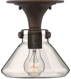Hinkley 3146OZ Congress 1 Light 8 inch Oil Rubbed Bronze Foyer Flush Mount Ceiling Light, Retro Glass #LightingNewYork