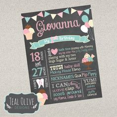 Ice Cream Chalkboard Birthday Sign - First Birthday ChalkBoard Poster - Ice Cream Party, sweet treats - Birthday Sign - DIGITAL FILE by TealOliveDesigns on Etsy