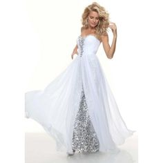 (HOT)Sheath sweetheart long White sequined flowy prom dress with beadingProm Evening Dresses
