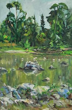 Buy Flamingos, Oil painting by Tamara Vieira on Artfinder. Discover thousands of other original paintings, prints, sculptures and photography from independent artists. Small Lake, Oil Painting On Canvas, Impressionist, Lovers Art, Green Colors, Landscape Paintings, Buy Art, Original Paintings, Sculptures