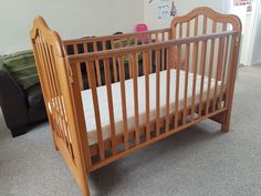 With adjustable mattress heights and sliding side panel that slides underneath the cot. Suitable for babies and toddlers. Dismantled and ready for collection from Bristol. Bedside Cot, Cots, Bristol, Nursery Decor, Mattress, Toddlers, Babies, Ebay, Furniture