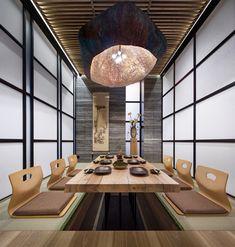 japanese restaurant Tatami-room at Fujiwara Yoshi - restaurant Japanese Restaurant Interior, Japanese Interior, Restaurant Interior Design, Best Japanese Restaurant, Asia Restaurant, Restaurant Ideas, Japanese Design, Japanese Style, Tatami Room