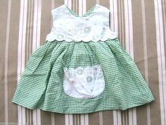 FRENCH 1950s BABY GIRL EMBROIDERED DRESS - GINGHAM - MADE IN FRANCE - NEW - 3m