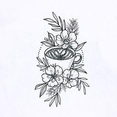 Coffee Cup Tattoo, Coffee Tattoos, Body Art Tattoos, New Tattoos, Cool Tattoos, Piercing Tattoo, Piercings, Tattoo Studio, Teacup Tattoo
