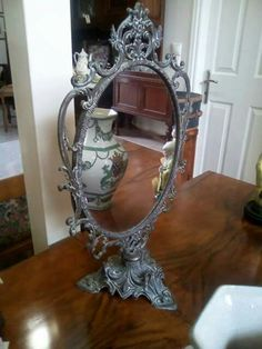 Antique mirror Decor, Table, Furniture, Home Decor, Vintage, Mirror Table, Mirror