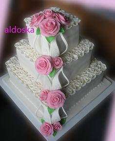 Swirls & pink roses By aldoska on CakeCentral.com