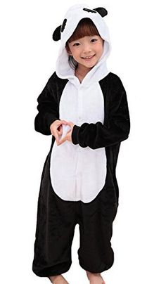 Tonwhar Childrens Halloween Costumes Kids Kigurumi Onesie Animal Cosplay  125height531457 Panda -- Visit the image 6023cacd6