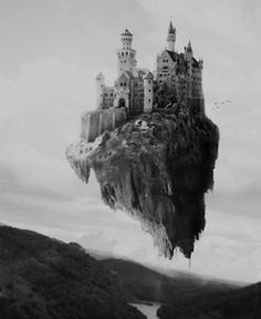 Castle on A Cloud. im really into fantasy art and this remines me of Castle in the sky by Miazaki Castle In The Sky, Dark Castle, Fantasy World, Fantasy Art, Fantasy Castle, Fantasy Setting, Beautiful Castles, Fantasy Landscape, Photo Manipulation