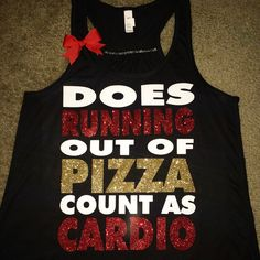 db9e94967 Does Running Out Of Pizza Count as Cardio - Ruffles with Love - Racerback  Tank - Womens Fitness - Workout Clothing - Workout Shirts with Sayings