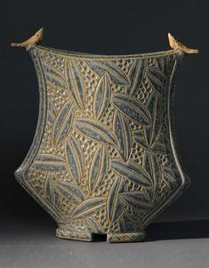 Jim and Shirl Parmentier Sage Greek Vase with Birds Ceramics Exhibitor #artisphere2016
