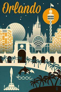 Orlando, Florida - Retro Skyline - Lantern Press Artwork