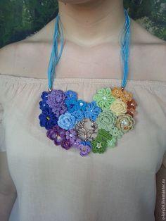 """Колье вязаное """"Дыхание Весны"""", цветочное колье, вязаные цветы. - цветочное колье"""