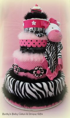 Pink Zebra Diaper Cake, Baby Girl Diaper Cake, Baby Shower Centerpiece - http://www.babyshower-decorations.com/pink-zebra-diaper-cake-baby-girl-diaper-cake-baby-shower-centerpiece.html