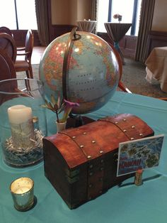 Travel Themed Centerpieces - By The Party Girl Events Retirement Parties, Grad Parties, Retirement Party Centerpieces, Table Centerpieces, Wedding Decorations, Christmas Decorations, Rehearsal Dinner Themes, Travel Bridal Showers, Graduation Theme