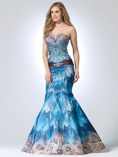 Cache - Feather Print Mermaid Gown