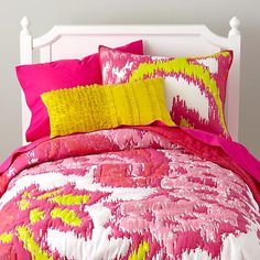 The Land of Nod | Girls Bedding: Pink Pixel Paisley Bedding in Girl Bedding