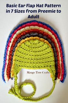 *Use J hook for adult size. Basic Crochet Ear Flap Hat Pattern Summer 2015 has been long and busy in my house. I welcome fall with a new design – this Basic Crochet Ear Flap Hat Pattern in 7 sizes which is a warmer version . Bonnet Crochet, Crochet Cap, Crochet Baby Hats, Cute Crochet, Crochet Clothes, Crocheted Hats, Crotchet, Crochet Hat Earflap, Knit Hats