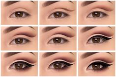 Eye makeup tutorial - step by step instructions for cut crease shadow and bold liner: