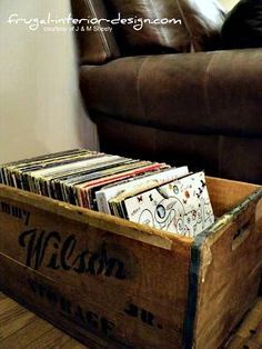 Old Crate Becomes A Storage Container For A Vinyl Album Collection