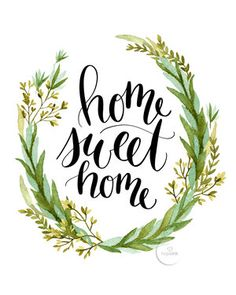 Trendy Home Sweet Hom Sign Canvas Diy Wall Brush Lettering, Lettering Design, Watercolor Hand Lettering, Hand Lettering Art, Logo Design, Poster Home, Professional Photo Lab, Green Wreath, Sweet Home Alabama