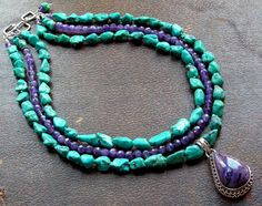 charoite, amethyst, and turquoise