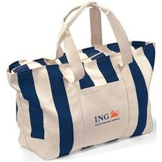 Large Striped Canvas Tote Bags