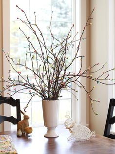 hot glue jelly beans to twigs