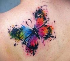 Butterfly With Flowers Tattoo, Unique Butterfly Tattoos, Butterfly Wrist Tattoo, Butterfly Tattoo Designs, Butterfly Watercolor, Watercolor Tattoo, Ribbon Tattoos, Mom Tattoos, Feather Tattoos