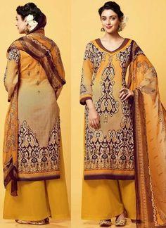 Mustard Cotton Satin Button Work Printed Designer Pakistani Fancy Palazzo Suit http://www.angelnx.com/Salwar-Kameez/Pakistani-Suits