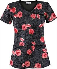 UA Wild Roses Black Print Scrub Top We do not get to mix up our ward robe at work but at least we can wear any color, style or design. I'm always on the look our for cute scrubs Cheap Scrubs, Cute Scrubs, Cute Nursing Scrubs, Scrubs Uniform, Scrubs Outfit, Black Scrubs, Diy Couture, Medical Scrubs, Peeling