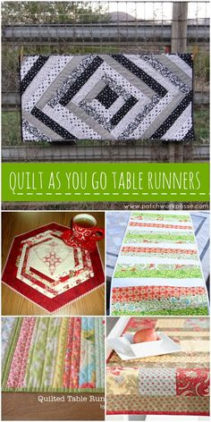 quilt as you go table runners-- awesome collection. I love sewing this technique!