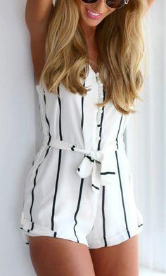 8dcbef047aa8 Women s Spaghetti Strap Sleeveless Striped Romper - ROAWE.COM. Striped  PlaysuitFashion ...