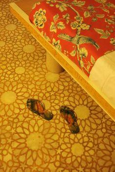 stencilled cement #floor - tinted first!