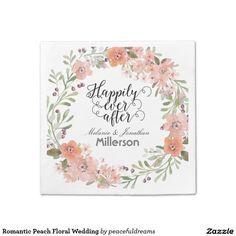 Romantic Peach Floral Wedding Standard Cocktail Napkin