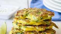 Fresh Zucchini made into delightful fritters or pancakes! I didn't grow up eating zucchini pancakes. I never even had a zucchini pancake until several years after Rod and I were married. We had a bumper Zucchini Pancakes, Cheese Pancakes, Breakfast Pancakes, Breakfast Recipes, Zucchini Cheese, Scallion Pancakes, Zucchini Bread, Brunch Recipes, Waffles
