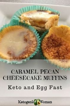 Keto Low Carb Cheesecake Muffins - Egg Fast version made with a Caramel/Coconut oil Icing. For the Egg Fast 2 Muffins with topping = 1 egg, 1 fat, 2 oz cheese. Healthy Low Carb Recipes, Low Carb Dinner Recipes, Low Carb Desserts, Keto Recipes, Protein Recipes, Lunch Recipes, Dessert Recipes, Seafood Recipes, Cake Recipes