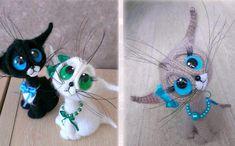 Вязаный крючком котик с большими выразительными глазами. Высота игрушки -16 см. Автор описания: Per4iк Источник:…