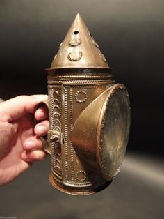 Early Primitive Antique Punched Brass Directional Candle Lantern Lamp Light    Sold  Ebay   210.00