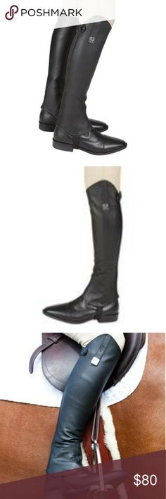 "Leather Half Chaps or Boot toppers Huntley Equestrian.com Black Junior or petite sized X-Slim, Short. Height is 14"" - 16"", calf is 12"" wide. Ultra soft imported leatherTop line design using high-cut profileYKK.  Heavy duty zipper-zips bottom to top. Snap tabs at the top to reinforce snug fitUpper swagger tab and metal pendant. Outer stretch nylon elastic panel. Beautiful dust bag included. Pair with any boot! Boots not included. Huntley Equestrian Shoes"