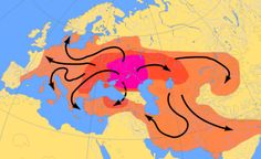 Scheme of Indo-European migrations from ca. 4000 to 1000 BCE according to the Kurgan hypothesis. The magenta area corresponds to the assumed Urheimat. The red area corresponds to Indo-European-speaking peoples up to ca. 2500 BCE; the orange area to 1000 BCE.  The central purple area is supposed to show early w:Yamna culture (4000–3500 BC); the dark red area could show expansion to about 2500 BC, and the lighter red area expansion to about 1000 BC.