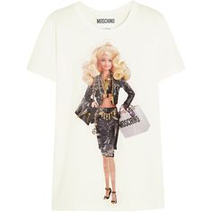 Moschino Barbie-print cotton-jersey T-shirt ($265) ❤ liked on Polyvore featuring tops, t-shirts, moschino, white, moschino t shirt, white babydoll top, babydoll tops, print t shirts and cotton jersey