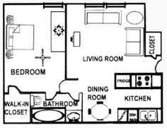 One Bedroom Apartment Floor Plan 500 Sq Ft   Google Search Part 72