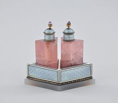 1920s Guilloche Enamel & pink quartz French Perfume Bottles - aspireauctions