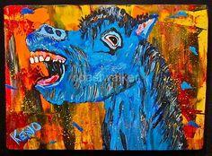 Blue Laughing Donkey Painting Abstract Maine Folk Art Outsider Coastwalker
