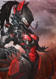 RedSkull's Page — Crimson Sentinel by Sebastian Gosko Robot Concept Art, Creature Concept Art, Armor Concept, Robot Art, Creature Design, Fantasy Character Design, Character Design Inspiration, Character Art, Cyberpunk Girl