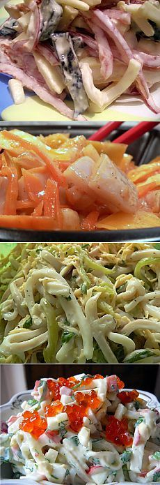 САЛАТЫ ИЗ КАЛЬМАРОВ НА ЛЮБОЙ ВКУС - 10 РЕЦЕПТОВ Russian Recipes, Fish And Seafood, Fish Recipes, Tuna, Food To Make, Food And Drink, Snacks, Vegan, Cooking