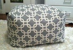 "More Colors- 18"" Pouf Ottoman Floor Pillow Square - Premier Prints Grey White Gotcha. $75.00, via Etsy."